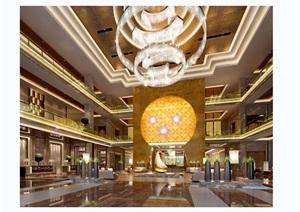 详细的完整整体酒店大堂室内3d模型及效果图
