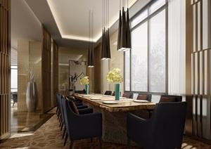 现代独特工装餐厅完整详细设计3d模型及效果图