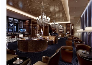 某详细的工装餐厅完整设计3d模型及效果图