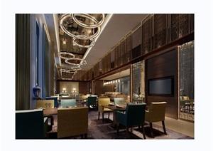 某详细的完整工装餐厅室内设计3d模型及效果图