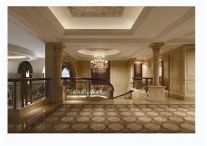 欧式风格详细的完整别墅空间装饰设计3d模型及效果图