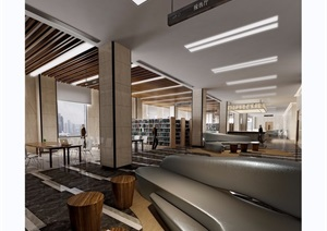 图书馆详细室内装饰设计3d模型及效果图