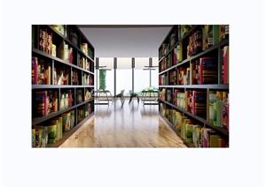 现代详细的图书馆室内装饰3d模型及效果图