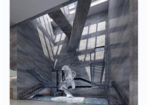 现代详细的博物馆空间装饰设计3d模型及效果图