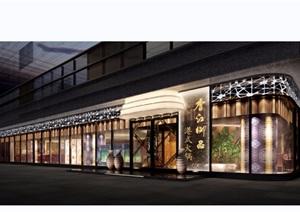 现代风格餐厅外观建筑设计3d模型及效果图