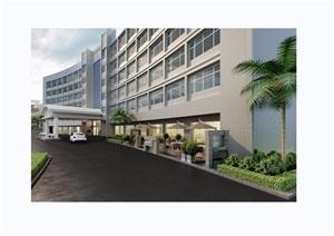 详细的完整酒店建筑设计3d模型及效果图