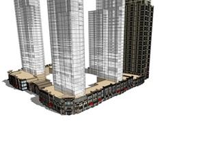 新古典沿街商业+公寓超细SU(草图大师)模型