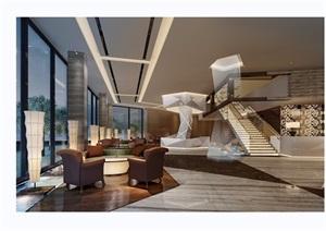 某详细的售楼部大厅空间装饰设计3d模型及效果图