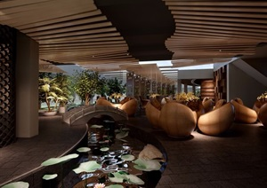 详细的售楼部室内装饰及景观设计3d模型及效果图