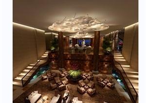 某详细的整体的完整售楼部装饰设计3d模型及效果图