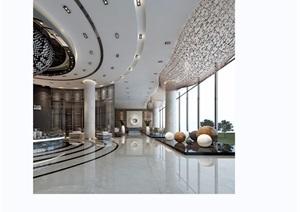 某详细的完整售楼部整体空间设计3d模型及效果图