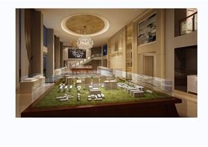 某详细的整体完整室内空间售楼部设计3d模型及效果图