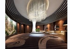 现代某独特详细的完整售楼部装饰3d模型及效果图