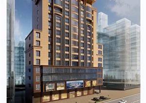 某现代风格详细的酒店完整建筑设计3d模型及效果图