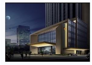 现代风格详细的高层建筑完整设计3d模型及效果图