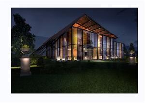 现代风格独特详细完整的售楼处建筑设计3d模型及效果图