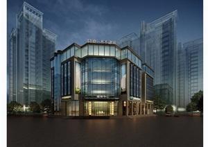 某详细的完整售楼处建筑设计3d模型及效果图
