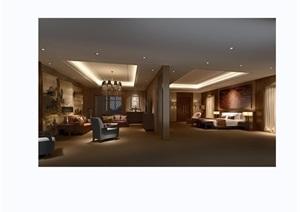 某独特详细的完整酒店客房设计3d模型及效果图