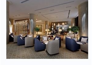 现代风格详细的工装休闲区空间装饰设计3d模型及效果图