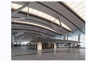 某独特详细的完整工装机场室内3d模型及效果图
