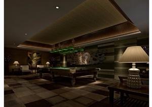 某详细的桌球室工装设计3d模型及效果图