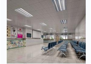 某整体详细的工装医院空间3d模型及效果图