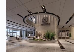 某现代风格详细的室内公共大堂空间工装设计3d模型及效果图