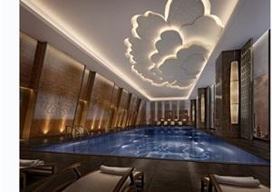现代游泳馆工装室内装饰3d模型及效果图