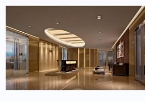 某独特详细的工装室内前台空间3d模型及效果图