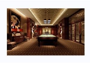 某欧式风格室内台球室工装室内空间装饰设计3d模型及效果图