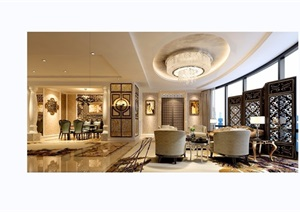 详细的完整室内装饰客厅装饰设计3d模型及效果图