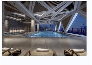 某详细的完整游泳馆工装室内3d模型及效果图