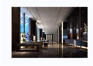 某详细的大厅公共空间装饰设计3d模型及效果图
