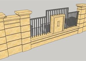 大理石材质围墙素材SU(草图大师)模型