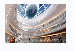 图书馆中庭工装室内装饰3d模型及效果图