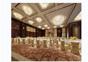 某详细的完整宴会厅空间装饰设计3d模型及效果图