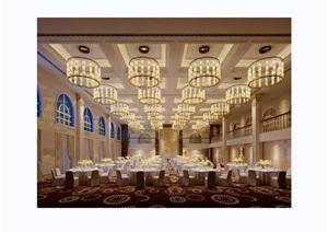现代详细的完整宴会工装厅室内3d模型及效果图