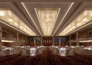 某现代详细的完整宴会厅工装装饰3d模型及效果图