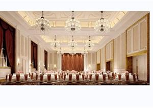 某现代风格详细整体宴会厅工装设计3d模型及效果图