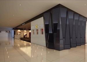 某现代风格公共空间走廊详细工装设计3d模型及效果图