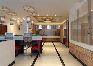 现代风格详细工装餐厅室内装饰设计3d模型及效果图