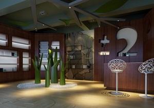 现代详细工装公共空间设计3de模型及效果图