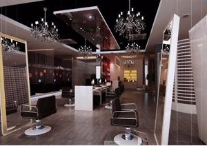 详细工装详细的完整美发店室内3d模型及效果图