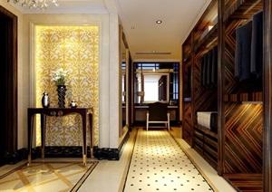 详细欧式风格工装过道走廊设计3d模型及效果图