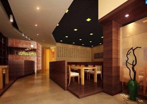 详细工装中式餐厅室内3d模型及效果图