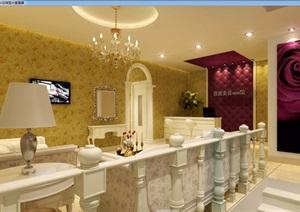 美式风格详细工装美容店室内3d模型及效果图