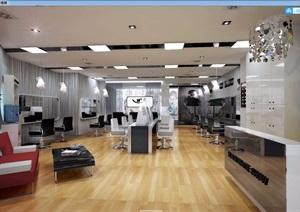 详细美发店工装室内装饰3d模型及效果图