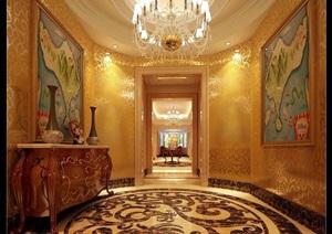 欧式详细工装过道走廊素材设计3d模型及效果图