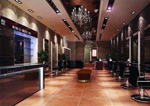 某现代风格详细的理发店室内3d模型及效果图