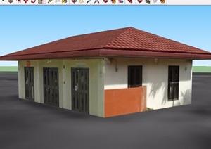 单层平房小房子住宅建筑设计SU(草图大师)模型